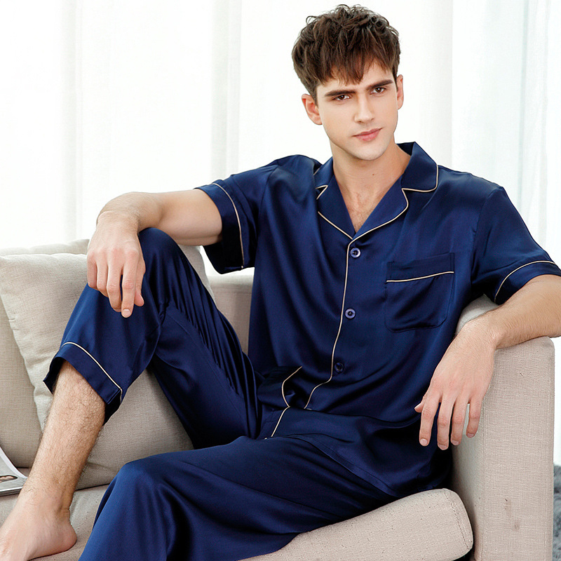 Genuine Silk Pajamas Solid Color Man's Short-Sleeve Two-Piece 100% Silkworm Silk Sleepwear Male Pyjama Sets T9001