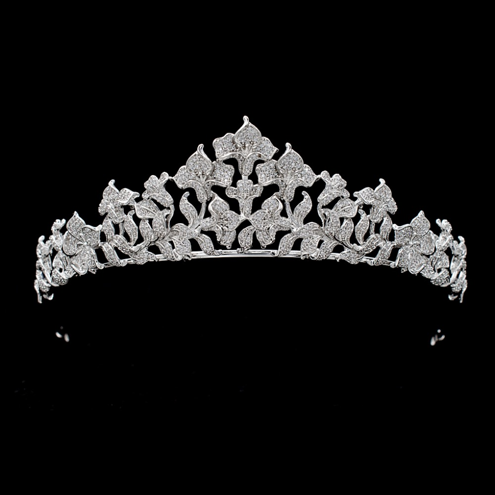 Full 5A CZ Cubic Zirconia Wedding Bride Tulip Tiara Crown Women Girl Hair Jewelry Accessories Rhinestone Crystals Tiaras S16430 03 red gold bride wedding hair tiaras ancient chinese empress hat bride hair piece
