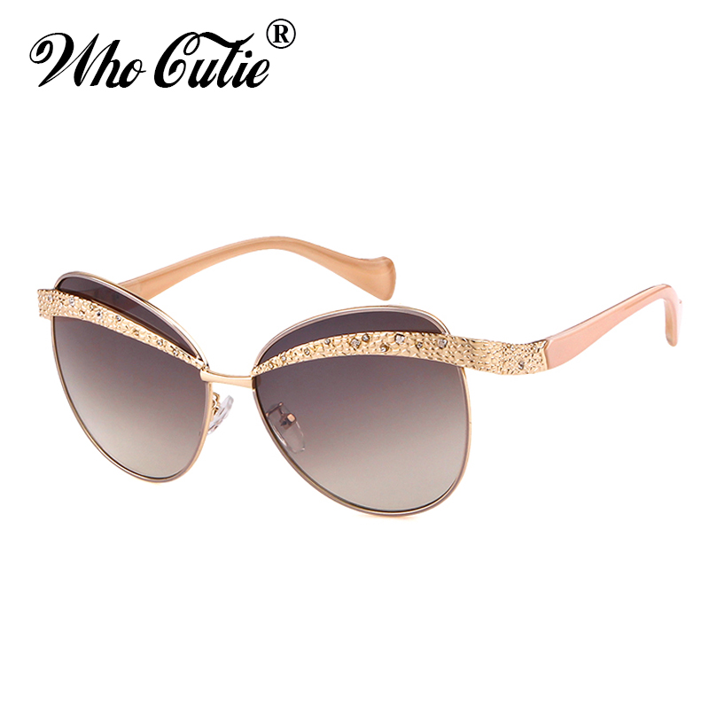 ef603c40fb5 WHO CUTIE Designer Sunglasses Women 2018 High Quality Brand Vintage Cool  Gold Eyebrow Frameless Lady Sun Glasses OM687-in Sunglasses from Apparel ...