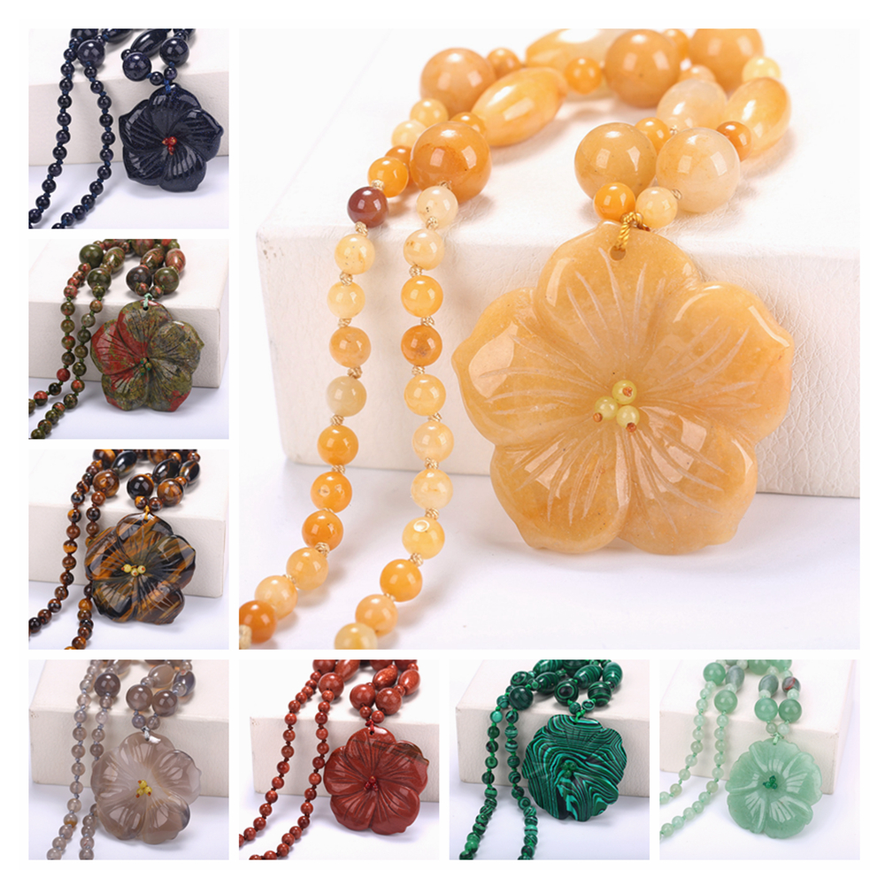 48cm Women Statement Necklace Flowers Natural Stone Pendant Power women Fashion Short Necklace Crystal Jewelry Reiki Beads Chain color agate topaz necklace natural stone crystal fashion women pearl chain party pendant exquisite jewelry flower name necklace