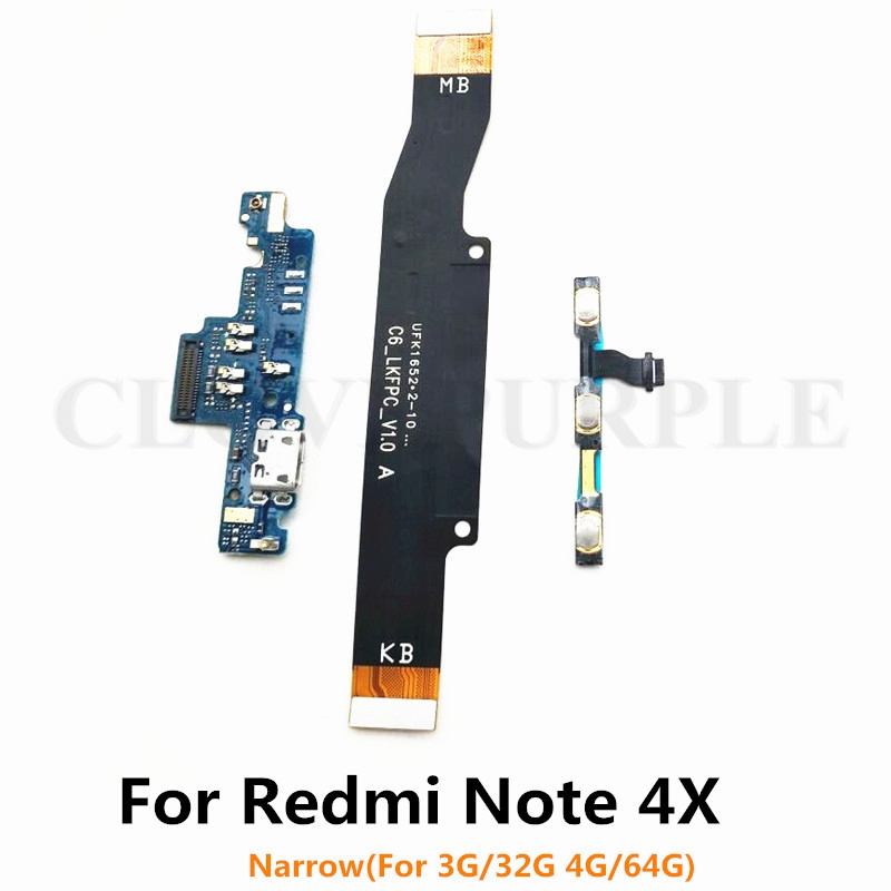 For <font><b>Xiaomi</b></font> <font><b>Redmi</b></font> <font><b>Note</b></font> <font><b>4X</b></font> (Narrow 3G/4G) Power Volume & USB Charging Board & <font><b>Motherboard</b></font> MainBoard Connections Line Flex Cable image