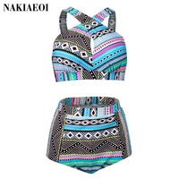 Plus Size Swimsuit Female Sexy Bikini 2016 High Waist Swimwear Women Vintage Beach Wear Cross Bikini