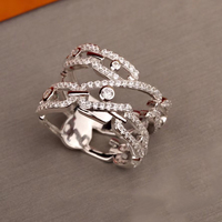 Hot Brand Pure 925 Sterling Silver Jewelry For Women Pin Lock Rings Pin Stone Rings Wedding Jewelry Fashion Party Rings Luxury