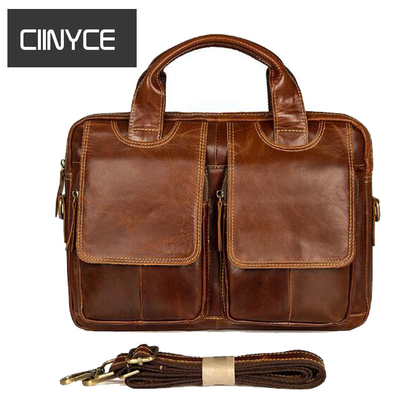 Genuine Leather Mens Vintage Business Totes Crossbody Men's Briefcase Laptop 9.7 inches Messenger Male shoulder bag cowhide