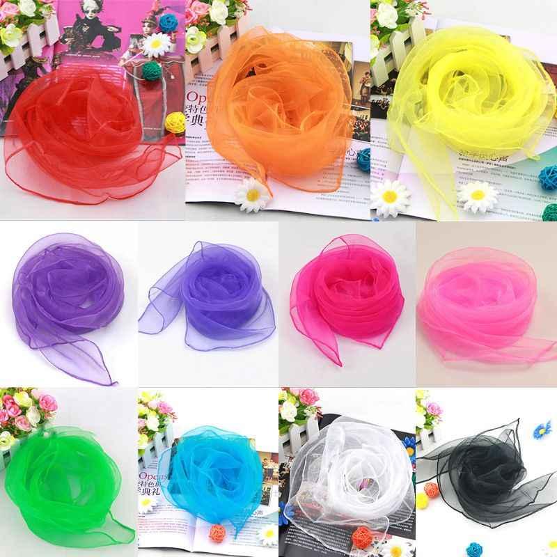 70x70CM Frauen Chiffon Square Neck Schal Süße Solide Candy Farbe Dame Band Taschentuch Tanzen Vintage Kopf Wraps