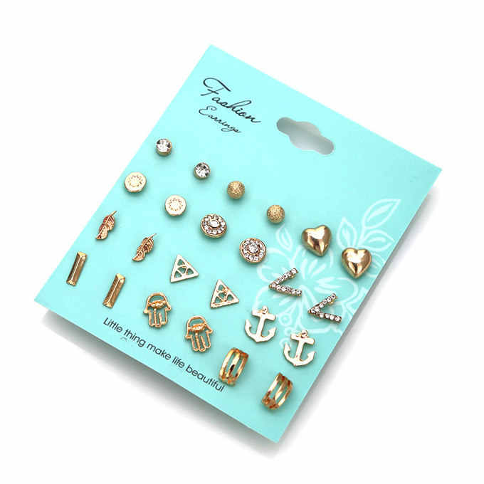 12 Pairs/Set Hot Sale Crystal Pearl Earring Set  Mixed Stud Earrings For Women Vintage Earring Set Gift Wholesale Dropshipping