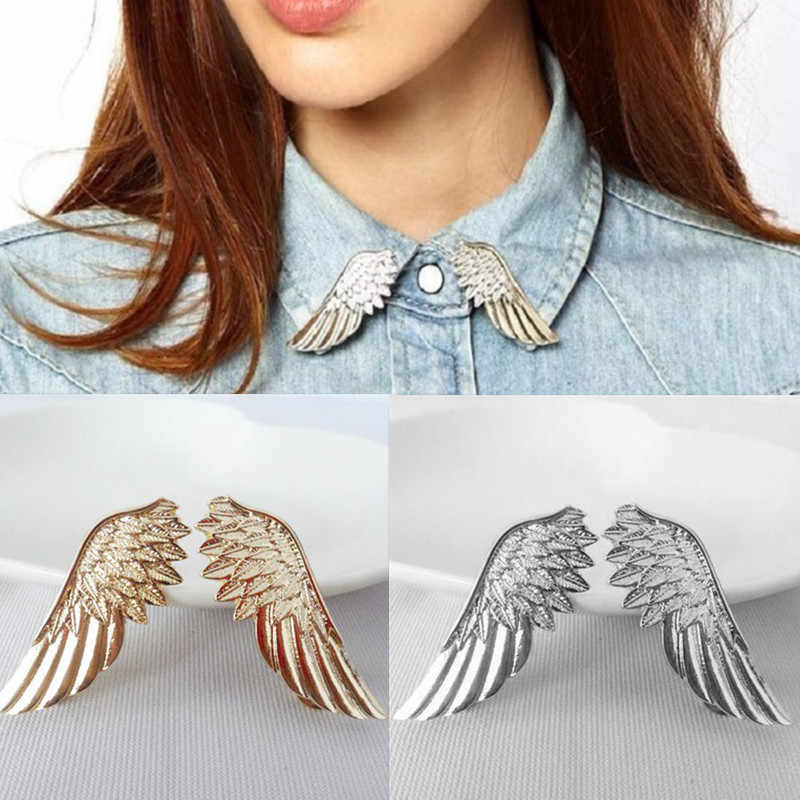1Pair  Vintage Angel Wing Gold Silver Color Metal Brooch Pin Badge Collar Tips Clothes Accessories Lapel Clip Badge for Women