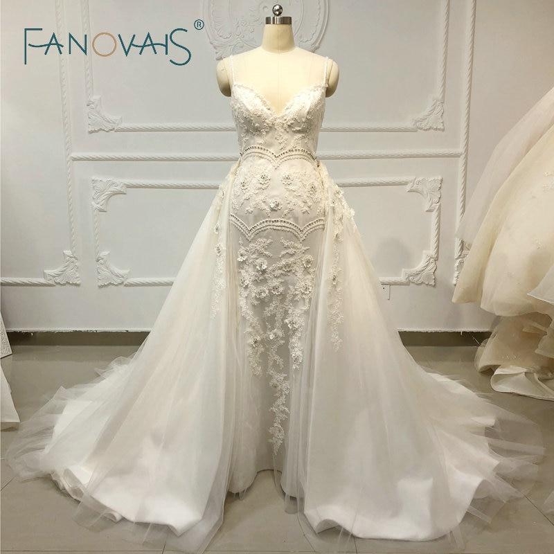 Trumpet Wedding Dresses 2019: Mermaid Wedding Dresses With Detachblae Train Vinatge Lace
