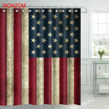 WONZOM Polyester Fabric Shower Curtains with 12 Hooks For Bathroom Decor Modern 3D American Flag Bath Waterproof Curtain
