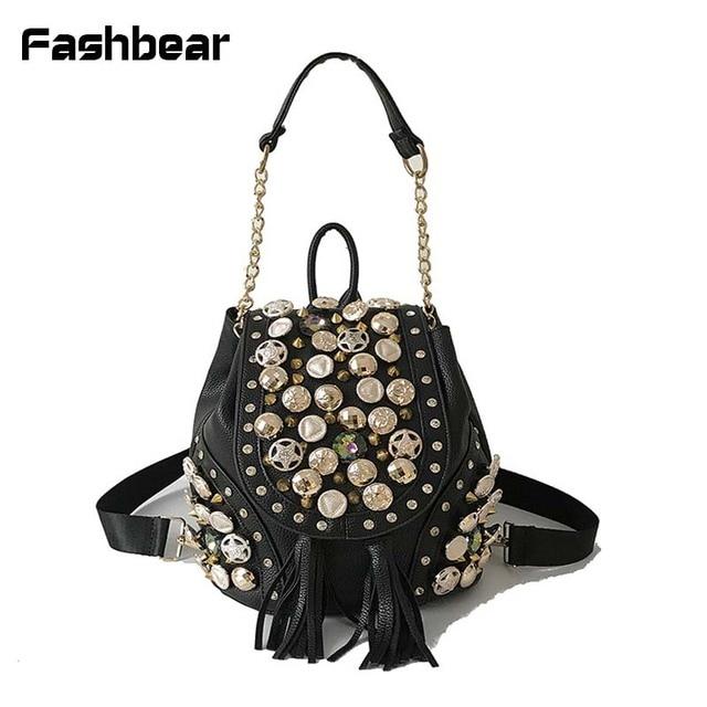 5bb3491b1f Waterproof Backpack Travel Korean Style Women 2018 New PU Summer Fashion  Black Rivet Bucket Girls Bag Pack Zipper For Womens Bag