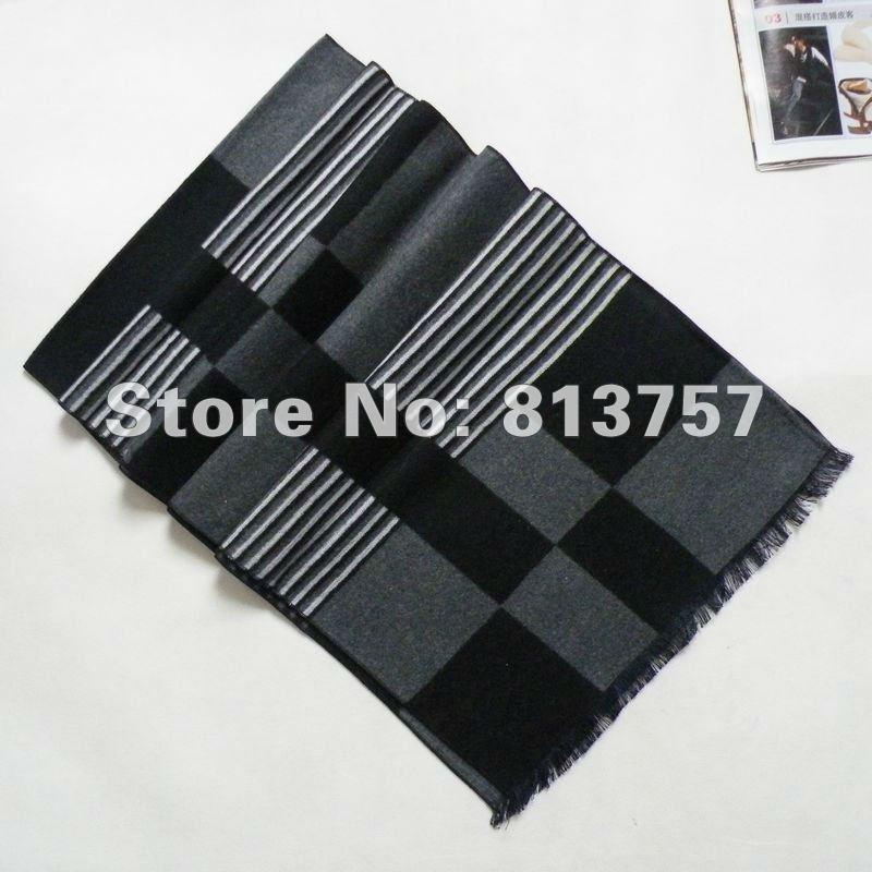 Универсальный шелковый шарф, шаль 180*30 см, Серый Черный Шелковый ворсистый шарф, зимний мужской большой клетчатый длинный шарф