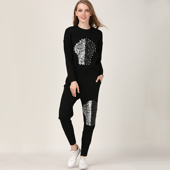 2018 Direct Selling Full Crop Top And Skirt Set Autumn/winter New Fashion Knitwear Kit Harlan Pants Casual Two-piece Suit