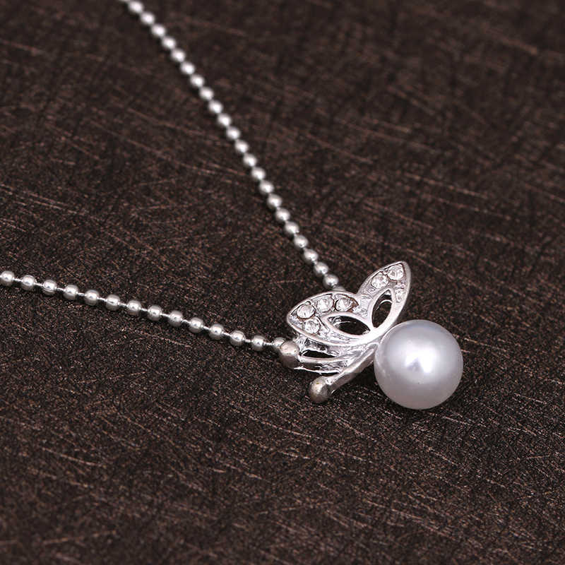 x38 Fashion Butterfly Jewelry Set Pearl Stud Earring Pearl Pendant Necklace For Women Girl Statement Jewelry Best Gift Wholesale