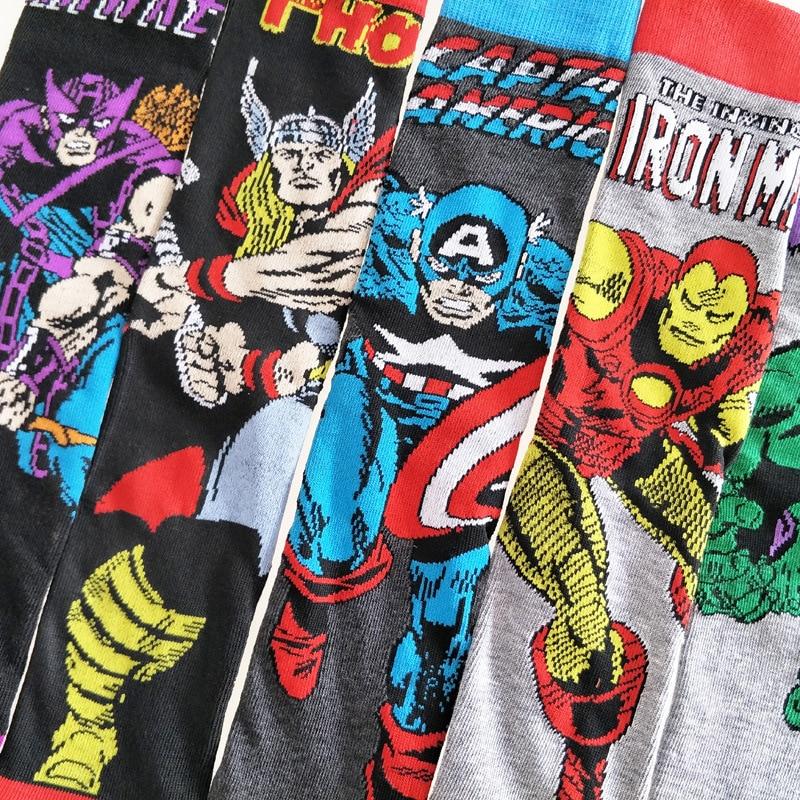 Avengers Marvel Cartoon Socks Batman Superman Casual Socks Novelty Funny Men Happy Socks
