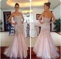 Sexy vestidos de baile elegante longo Strapless miçangas e apliques Zipper voltar ocasião especial vestidos galajurken 2015