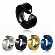 1Pc No Piercing Earrings Titanium Steel Hoop Earring Round Accessories Ear Clip Women Mens Punk Party Fashion Sexy(China)