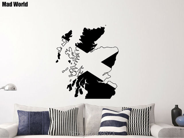 mad world map flag of scotland scottish wall art stickers wall decal home diy