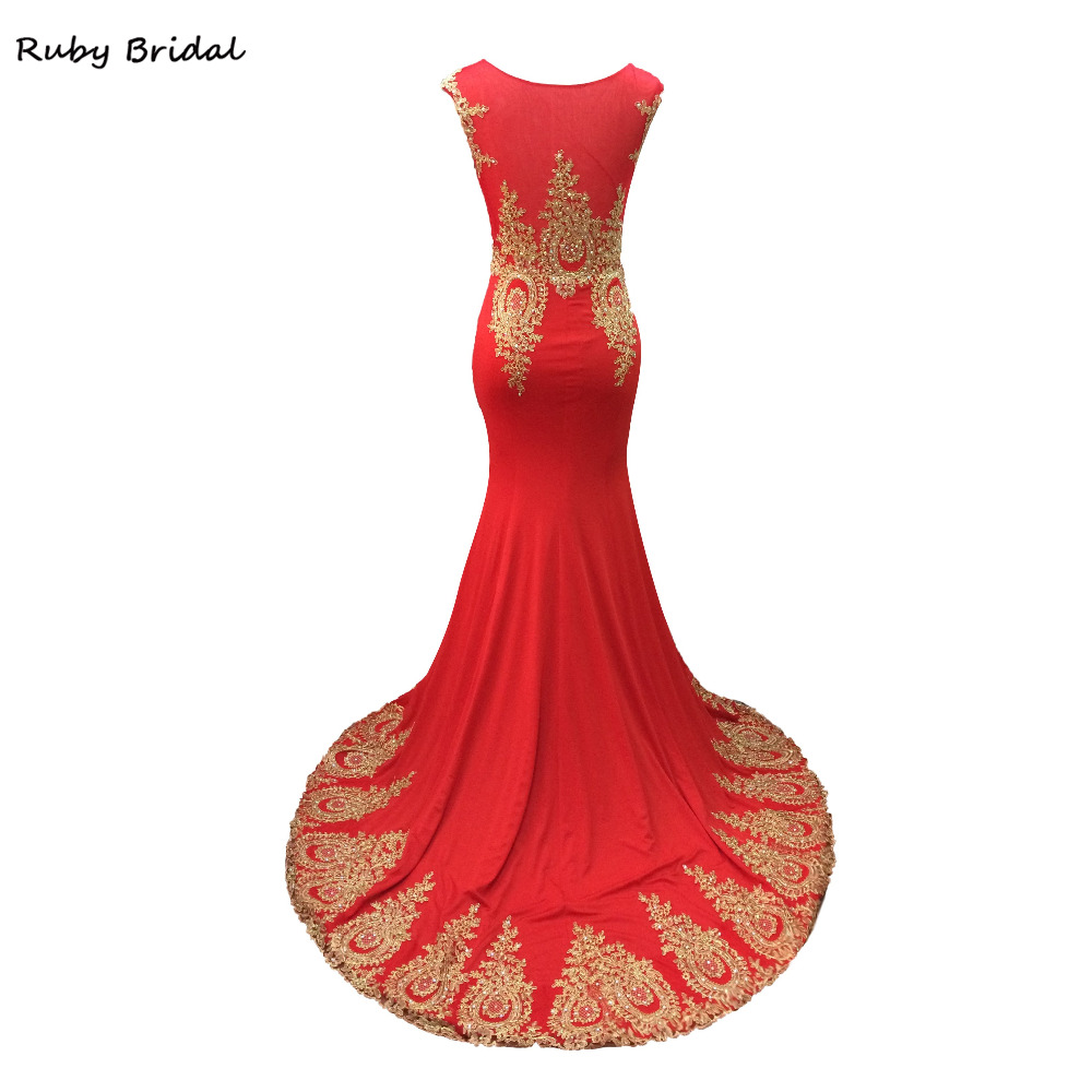 Ruby Bridal 2017 Vestidos De Fiesta Red Spandex Appliques Beads Prom Dresses  Elegant Luxury Mermaid Long Cheap Party Gown LP021-in Prom Dresses from ... c0d13870ef43