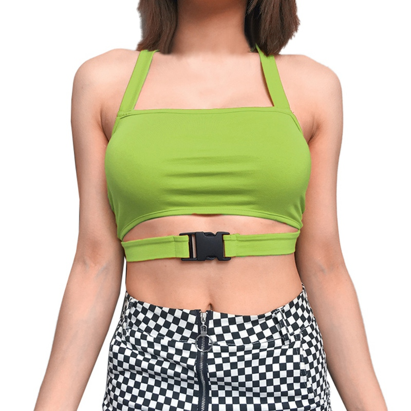 New Fashion Women Tank Tops Sexy Sleeveless Women Crop Tops Ladies Halter Front Buckle Solid Color Tank Tops Party Clothes in Tank Tops from Women 39 s Clothing