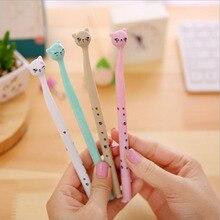 60pcs/lot Cute cartoon cat gel pen kawaii stationery pens 0.5mm black ink office school supplies papelaria G001
