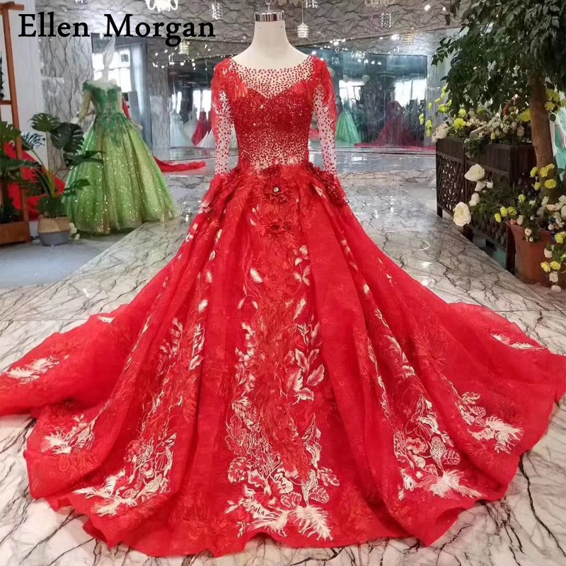 Ball Gown Embroidered Wedding Dress: Red Long Sleeves Lace Ball Gowns Wedding Dresses 2019