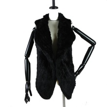 Top quality Women Real fur vest  Genuine rabbit knitted gilet long lady winter warm Fur Vest Rabbit