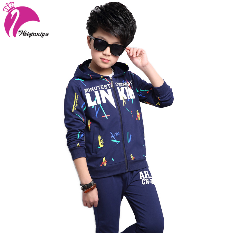 Sports Suit For A Boy Letter Printing Jacket For Childrens Boys Fashion Cotton Children Tracksuits Hoodies Boys Clothing Set