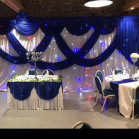 3M*6M White color Ice Silk Wedding Backdrops with Royal Blue Swag Stage Background Drape Curtain wedding baby shower party decor