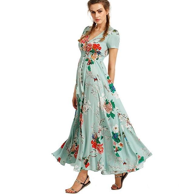 fa50cdce2653 Boho Women Summer Dress 2018 Bohemian Elegant Beach Long Sundress Midi  Black Green Floral Print Flowy Prairie Maxi Ladies Dress
