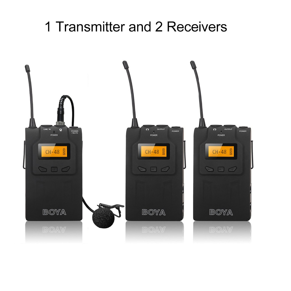 boya by wm6 wireless microphone system for dslr camera outdoor interview dv recording tour. Black Bedroom Furniture Sets. Home Design Ideas