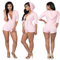 2016 Casual Jumpsuit With Hat Summer Short Bodysuit Bodycon Playsuit Wife Combination Female's Combishort Skinny Jumpsuits