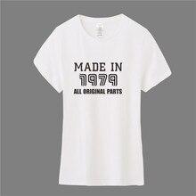 5af1225be8e614 Regalo di compleanno Made in 1979 T Shirt Womens Top O-Collo cotone Manica  Corta