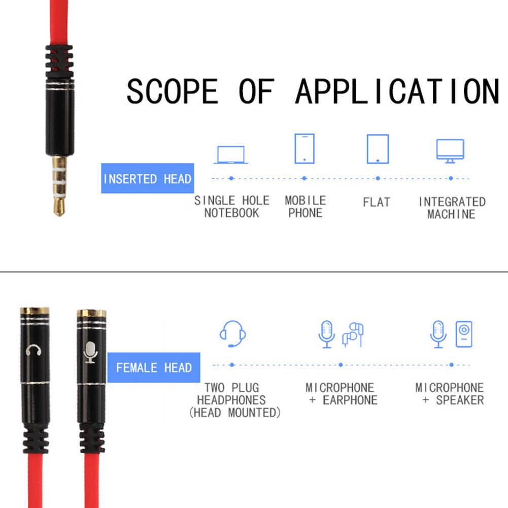 20 Cm Trrs Headphone Splitter 3.5 Mm Jack 4-Pole Laki-laki Ke Perempuan Headset Adaptor