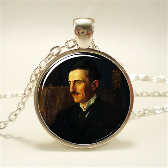 Nikola Tesla Tower pendant necklace keychain key fob