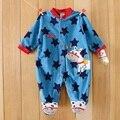 0-12 M Macacão Baby Boy Blue Star Cavalo Caráter Roupas Macacão de Bebê Mangas Compridas O-pescoço Velo Do Bebê Girafa padrão