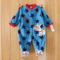 0-12M Baby Boy Rompers Blue Star Horse Baby Rompers Long Sleeves O-Neck Fleece Giraffe Baby Clothing Character Pattern