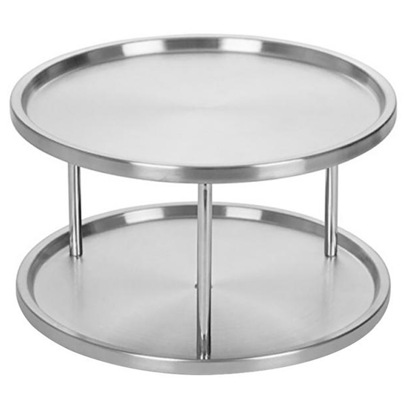 ABLA Spice Rack Stainless Steel Organizer Tray 360 Degree Turntable Rotating 2 Stand For Dining Table Kitchen Counters Cabinet