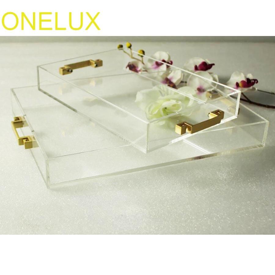 (2 PCS/LOT) plateaux décoratifs en acrylique transparent à usage domestique, bijoux Lucite/plateaux de rangement cosmétiques avec poignées en métal