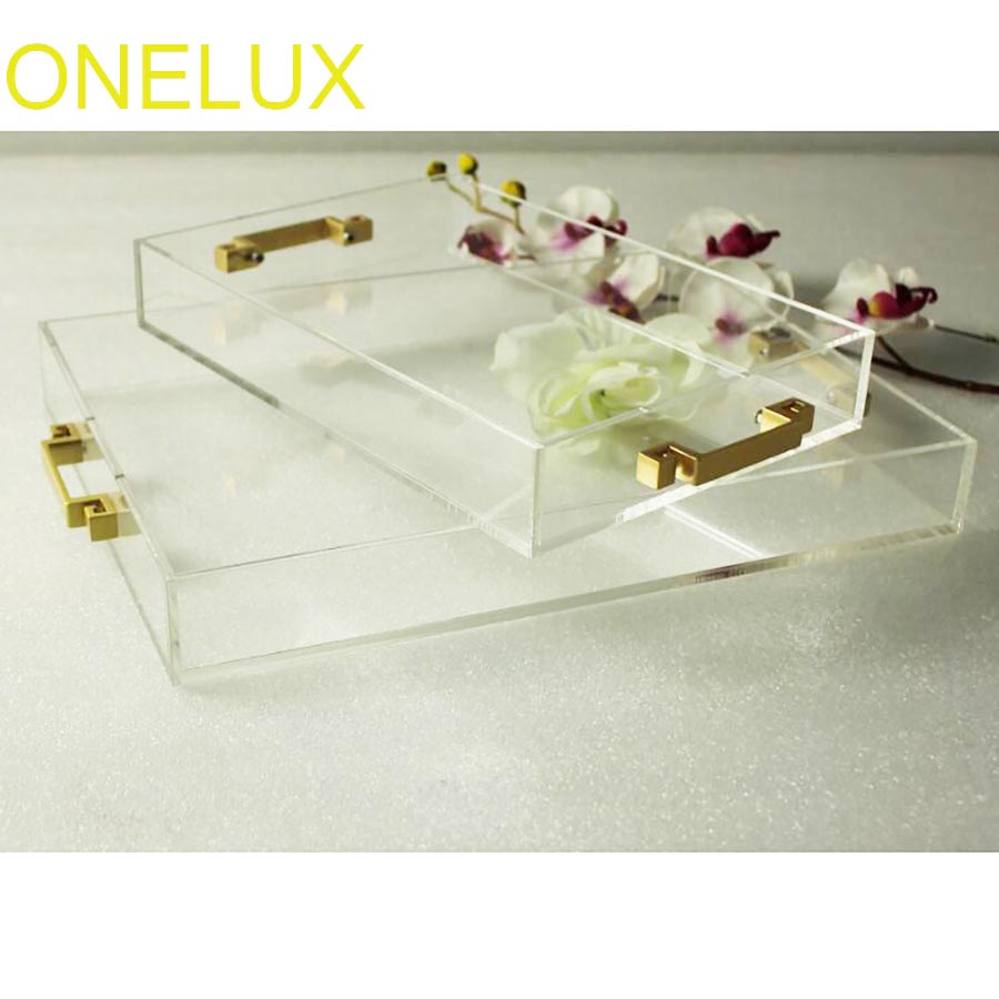 Plateaux décoratifs en acrylique transparent à usage domestique | Plateaux de rangement de bijoux/cosmétiques en Lucite avec poignées métalliques, lot de 2