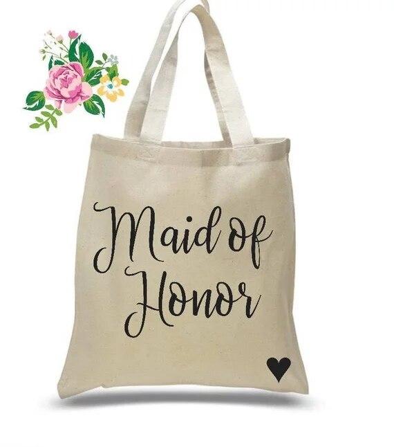 Personalised Bride Tote Bag Bridesmaid Maid Of Honour Man flower girl bridesmaid
