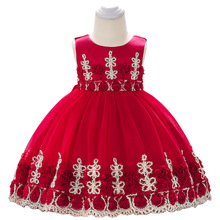 Infant Dress Girl Applique Puff Princess Wedding Baby Flower Elegant