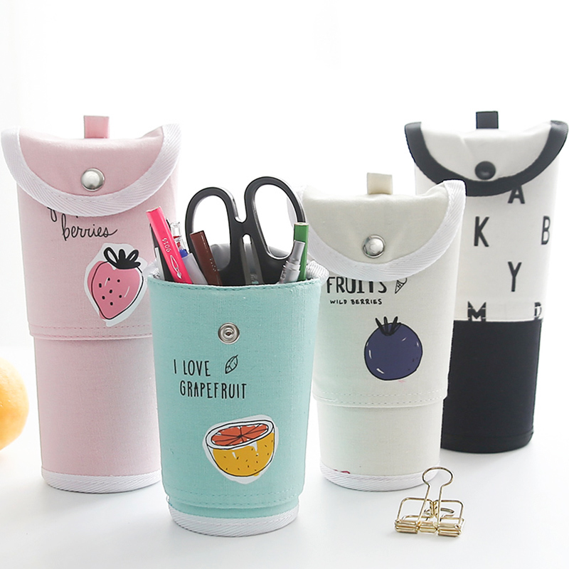 Creative Retractable Pen Pencil Case Bag 1pcs Large Capacity Canvas Durable Stationery Storage Bags Cosmetic Pouch for Student big capacity high quality canvas shark double layers pen pencil holder makeup case bag for school student with combination coded lock