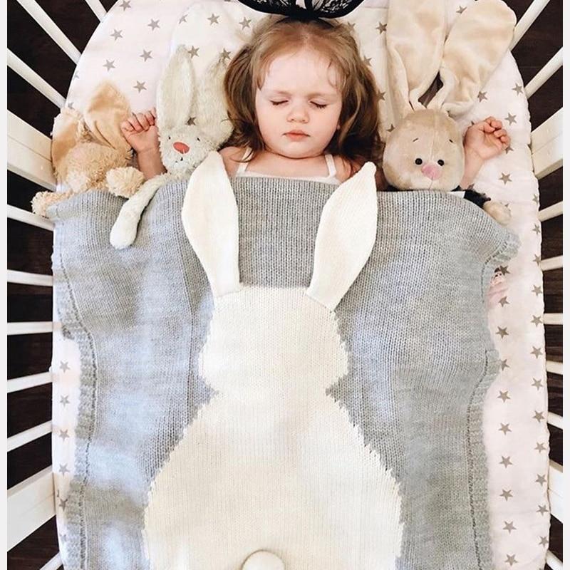 Baby Toddler Bedding Knitted Baby Blanket Wrap Soft Blankets  Newborn Cartoon Rabbit Baby Swaddle Sofa Blanket