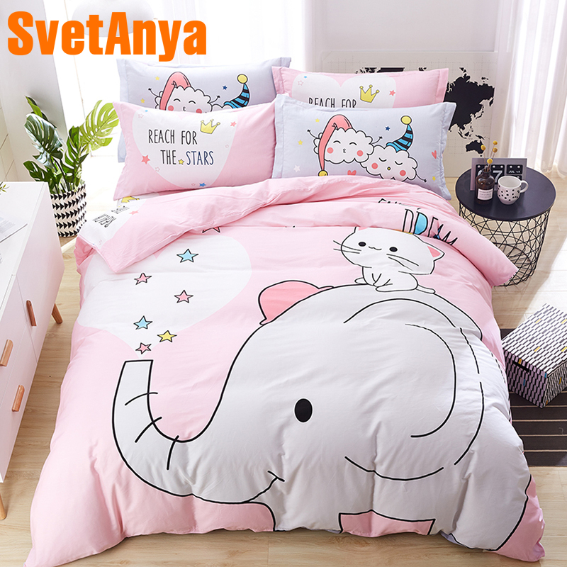 Svetanya pink Elephant Bedding Set pure Cotton Single Double Queen size Bed Linen