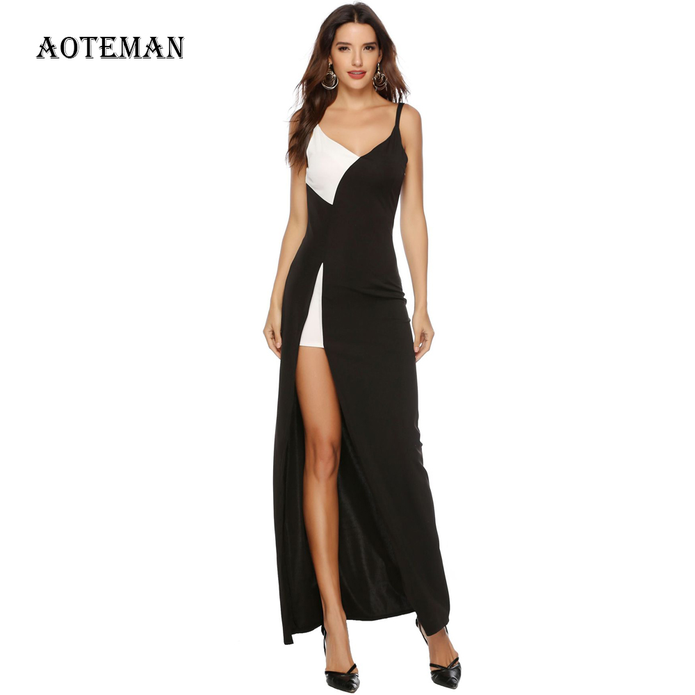 <font><b>Summer</b></font> <font><b>Dress</b></font> Women <font><b>2019</b></font> Fashion <font><b>Sexy</b></font> <font><b>Bodycon</b></font> Split Maxi Club Party <font><b>Dresses</b></font> Female Elegant Slim Office Patchwork Long <font><b>Dress</b></font> <font><b>Black</b></font> image