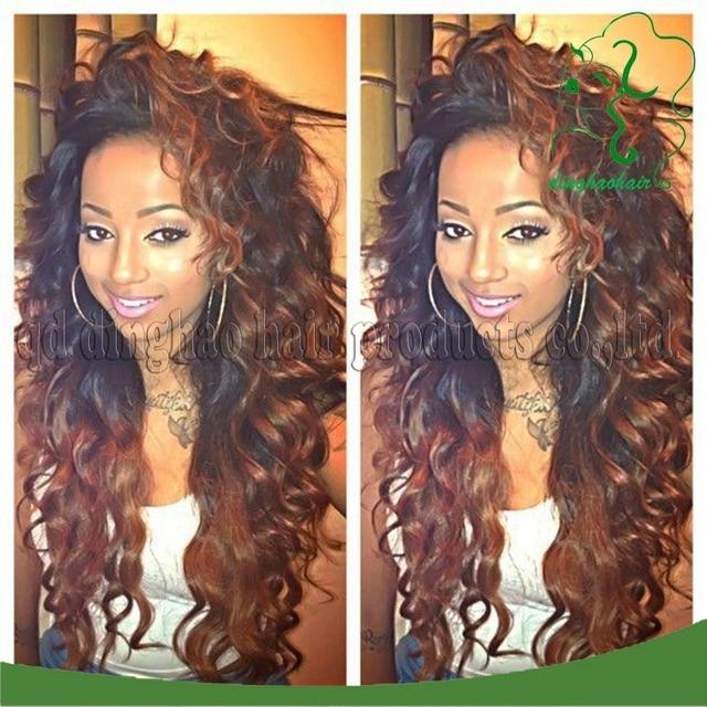 Brazilian Virgin Human Curly Lace Front Wigs Two Tone 1b 30 Hair
