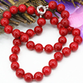 Fashion statement women artificial coral red stone jasper 10mm beads necklace for chain choker clavicle diy jewelry 18inch B3212