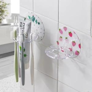 Image 2 - Soporte para cepillo de dientes, soporte para afeitar, 4 ganchos, caja dispensadora de pasta dental, organizador de almacenamiento, colgador adhesivo, accesorios para baño