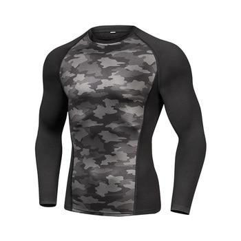 Add wool Winter Running shirt tights compression shirt Quick Dry Gym Fitness Long Sleeved 2019 Outdoor man's T-shirt rashguard