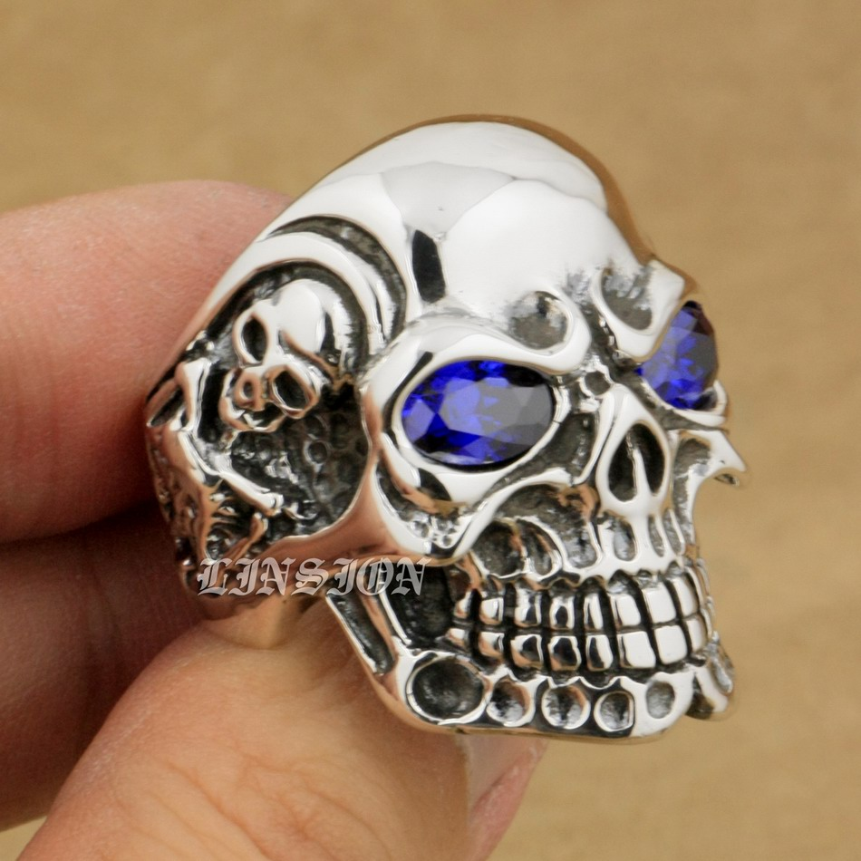 925 Sterling Silver Titan Skull Purple CZ Eye Mens Biker Punk Ring 8V505 US 8~14 green cz eye 925 sterling silver skull ring mens biker punk style 8v306a us 8 15